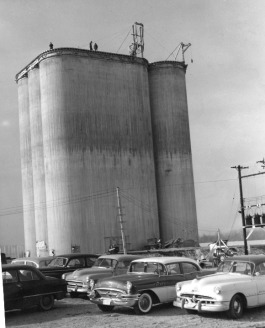 A photo from 1955 of the Norris Grain Co. facilities on President's Island. (University of Memphis)