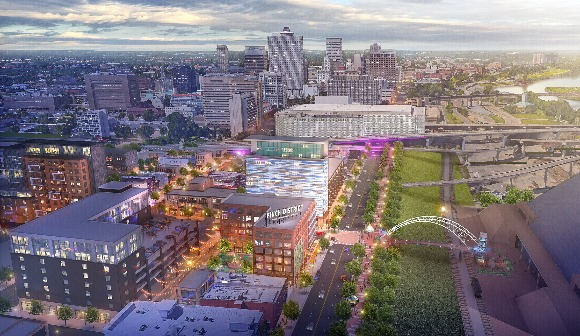A rendering of the Pinch District's potential redevelopment. (LRK)