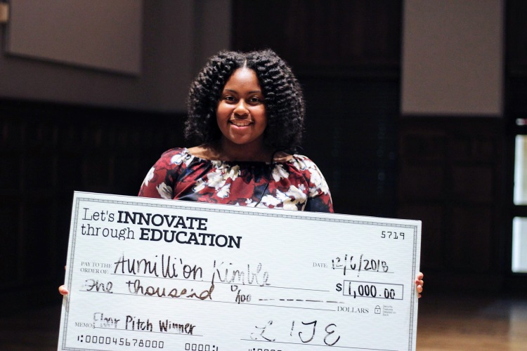 "Aumilli'on Kimble, a 16-year-old junior at Bartlett High School, won the floor pitch for her ""Heat Keep"" food warming pouches. She's already had one employer express interest in hiring her when she graduates. (Submitted)"
