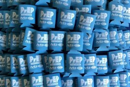 Koozies promoting the use of PrEP and The Corner are an example of the type of branded merchandise Friends for Life intends to sell in The Corner's retail area. (Friends for Life)