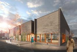 Architect's rendering of the new retail center.