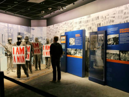A Rhodes College student visits the National Civil Rights Museum.