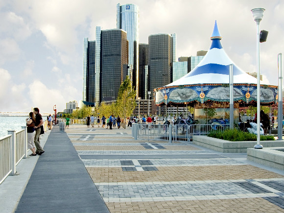 The Detroit riverfront sees nearly 3 million visitors annually.