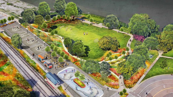 The RiverPlay pop-up park will open in May.