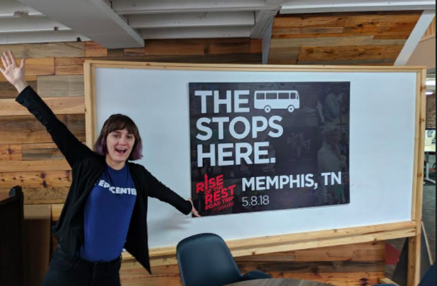 "Taylor Sherbine with Epicenter celebrates the announcement that Memphis will be a stop on the ""Rise of the Rest"" tour. (Epicenter)"