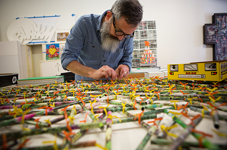 "Artist Brantley Ellzey in workspace, as part of ""Memphis Studios: A Visual Tour."" (Murray Riss)"