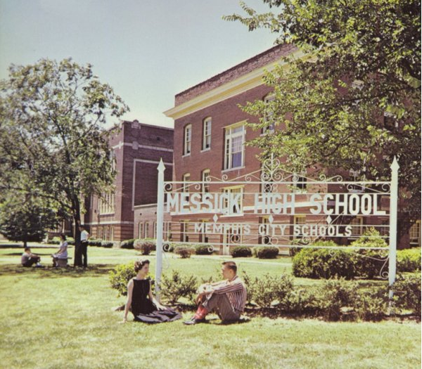 Students sit on the lawn of the Messick High complex in 1961. (Messick High 1961 Yearbook)