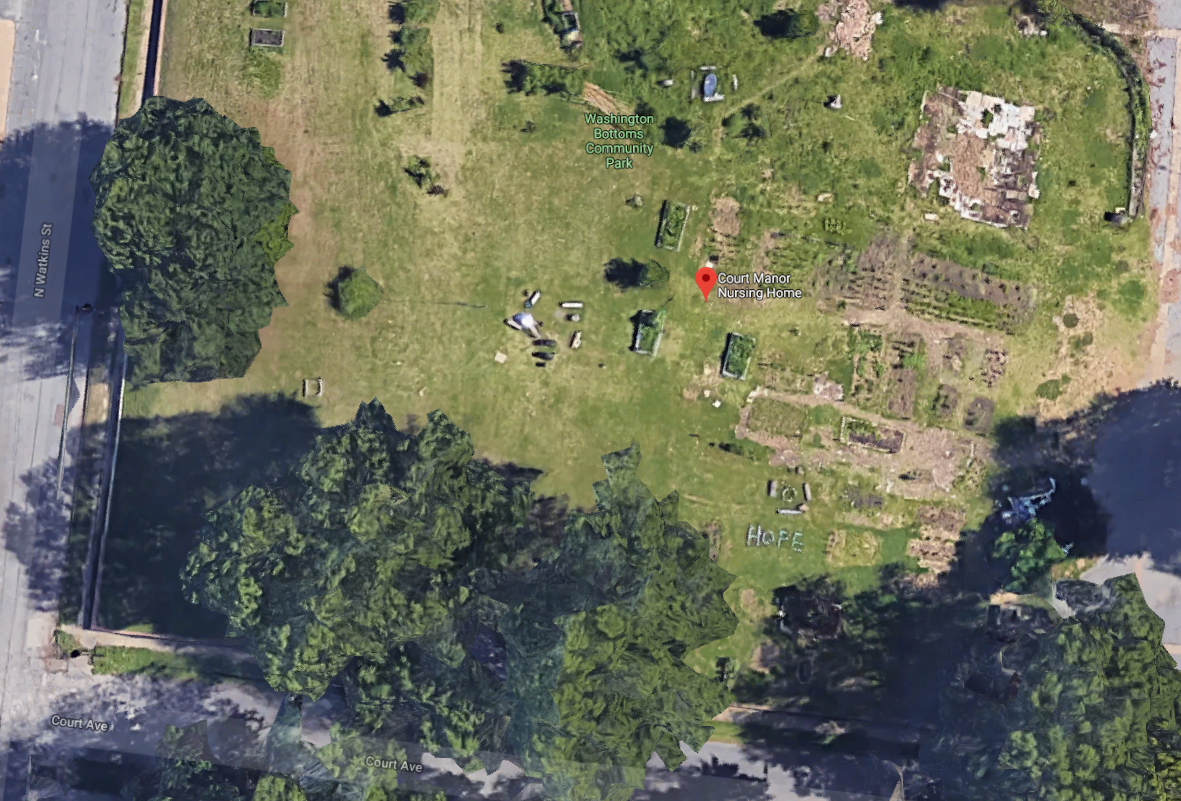 Google satellite images show the remnants of the Washington Bottoms Community Park and Garden at the corner of Court and N. Watkins streets. The garden was founded by Homeless Organizing or Power and Equality or H.O.P.E. Towards the lower right sid