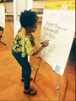 An Uptown resident adds her priorities to a list of possible new developments. (Community Redevelopment Agency)