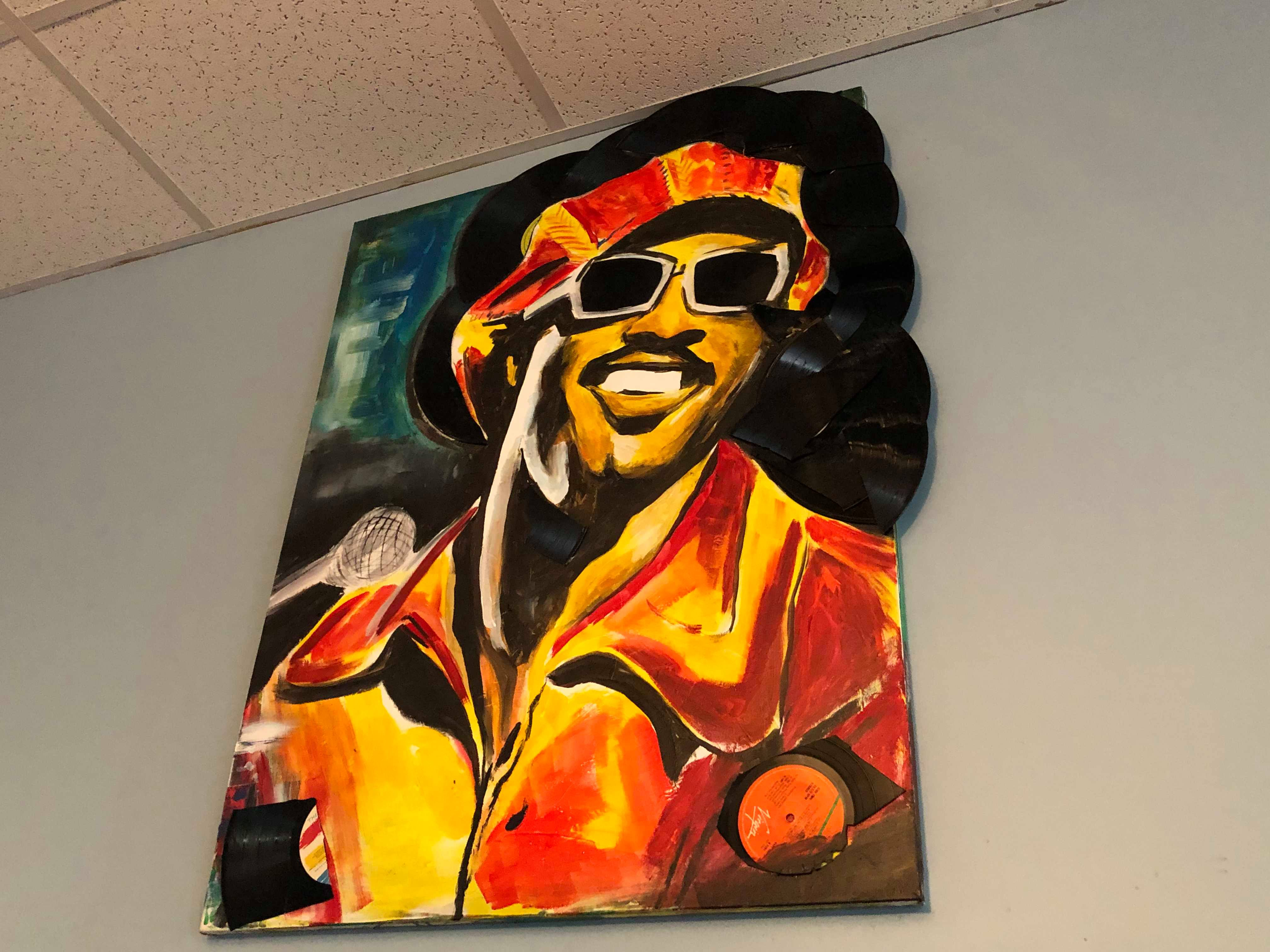 Painting by local artist Lenny Cain on display at Slice of Soul Pizza Lounge located at 1299 Madison Avenue in Madison Heights. (Scarlet Ponder)