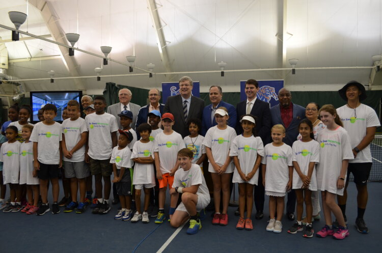 Leftwich tennis center renovation announcement press conference on Aug. 5, 2019. Back row from L to R: Former interim U of M athletic director Allie Prescott, Tennis Memphis Executive Director Stephen Lang, Memphis Mayor Jim Strickland, U of M Presid