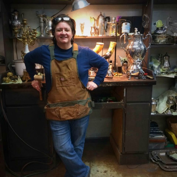 Silversmith Tootsie Bell in her East Memphis studio.