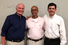 Dr. G. Scott Morris (left), Dr. Clarence Davis and Dr. Jim Bailey served as health care expert panelists at the inaugural Healthy City Town Hall meeting. The event was held on Sep. 16 at Novel bookstore.