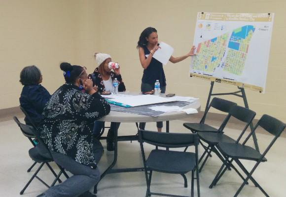 Residents and student of the University of Memphis planning department discuss Klondike Smokey City's future at a March 2016 meeting.