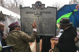 "Andrew ""Rome"" Withers, left, son of Ernest C. Withers, helped unveil a historical marker at the home of the iconic Civil Rights photographer."